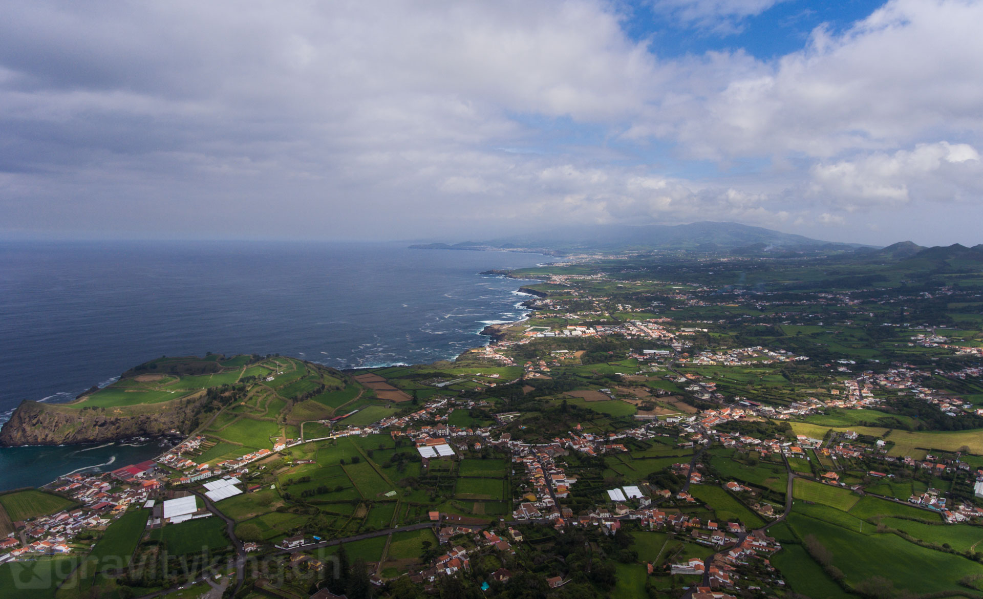 Aerial view from the surfhouse in Capelas, São Miguel, Azores