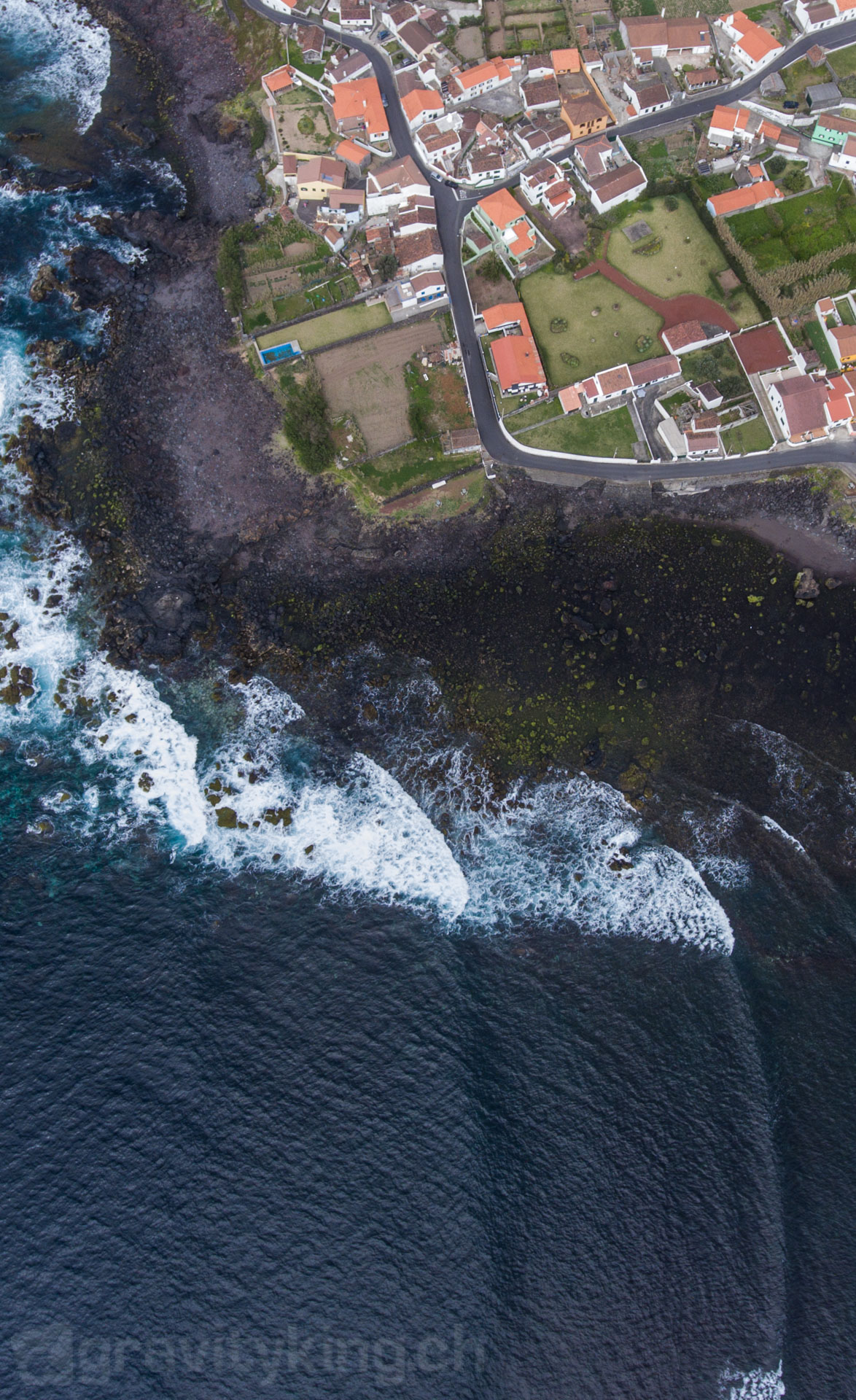 Mosteiros right from the sky. Mosteiros, São Miguel, Azores