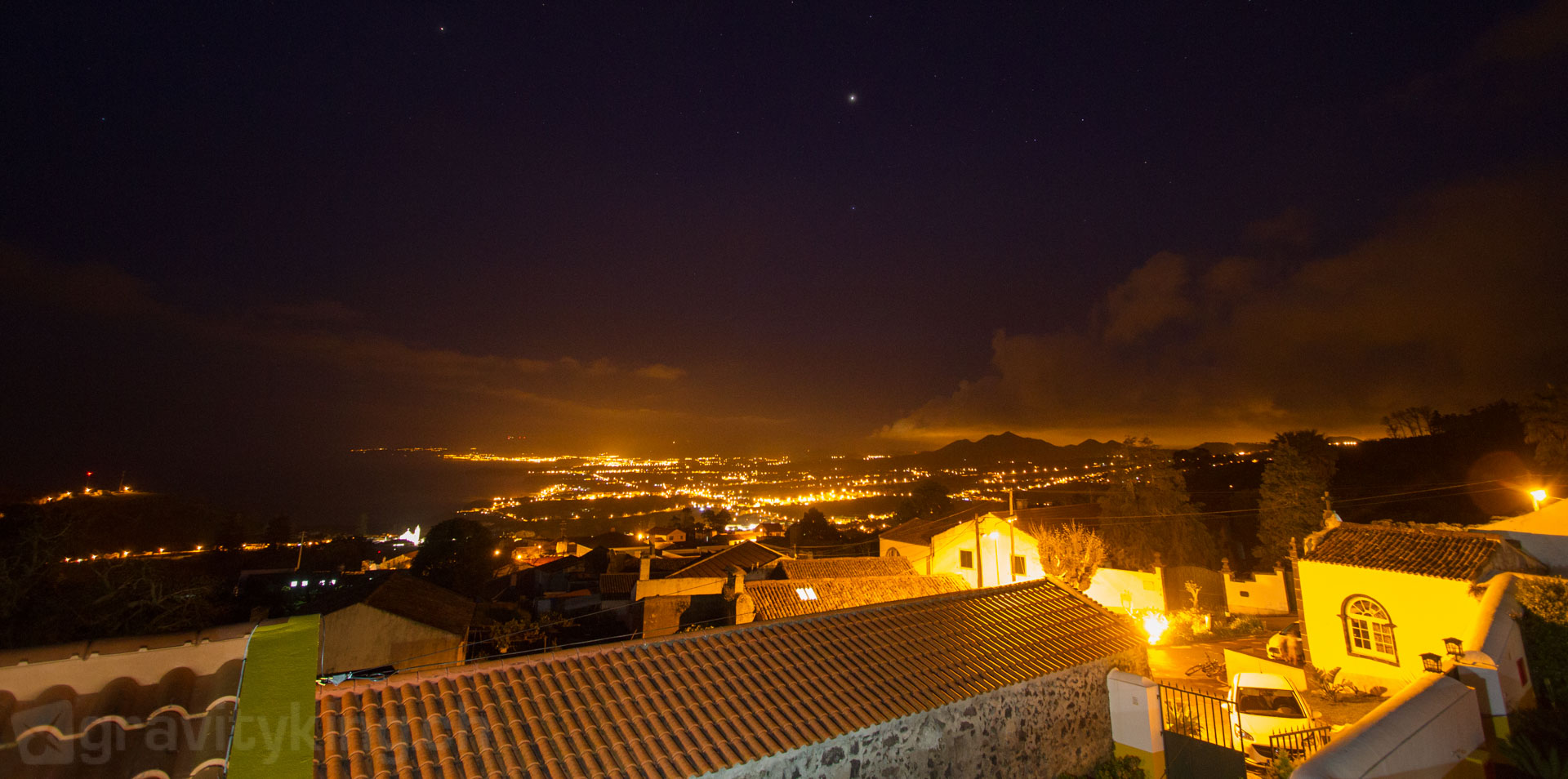 The view from the surfhouse at night. Capelas, São Miguel, Azores